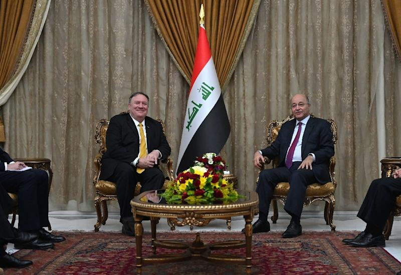 US Secretary of State Mike Pompeo (L) meets Iraqi President Barham Saleh on an unannounced visit to Baghdad, the latest stop on a whistlestop Middle East tour aimed at reassuring allies troubled by US plans to withdraw from Syria (AFP Photo/Andrew CABALLERO-REYNOLDS)