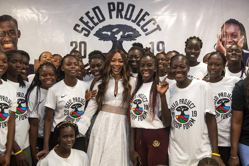 Campbell poses with female basketball players at a forum organised by eating disorder charity SEED on July 24 (APO Group via Getty Images)