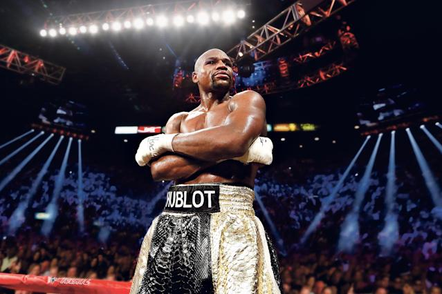 Mayweather sported the Swedish brand's name during his fight with Pacquiao. (Photo: Hublot)