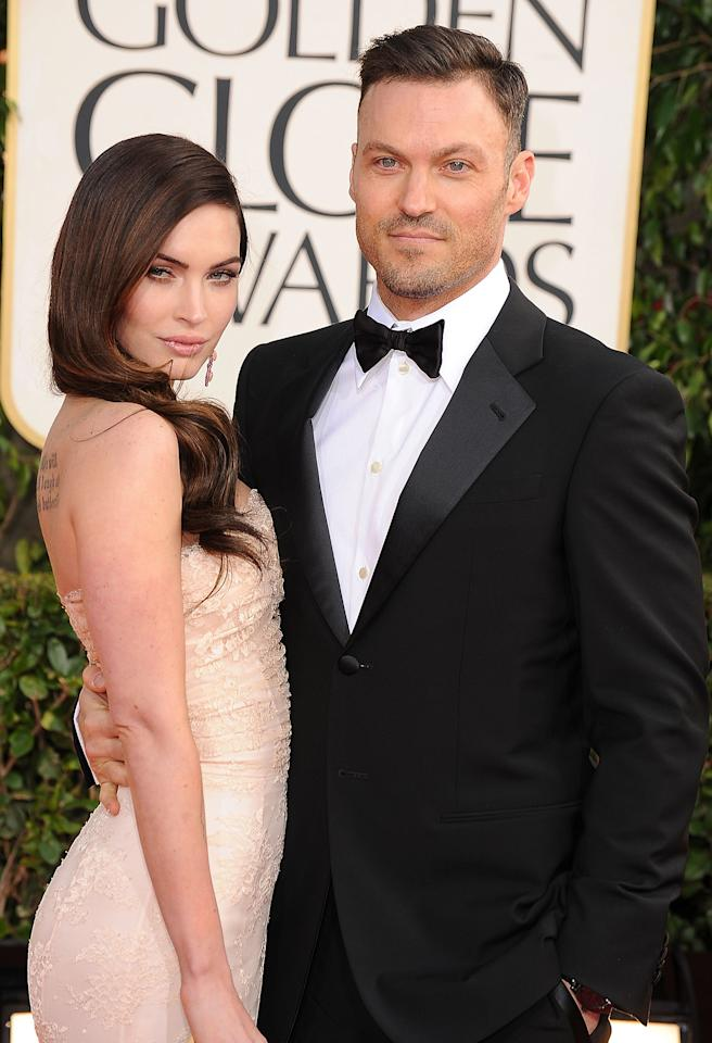 BEVERLY HILLS, CA - JANUARY 13:  Megan Fox and Brian Austin Fox arrives at the 70th Annual Golden Globe Awards at The Beverly Hilton Hotel on January 13, 2013 in Beverly Hills, California.  (Photo by Steve Granitz/WireImage)