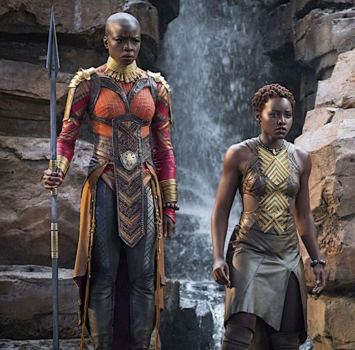 Some of the island inspiration can be see on Okoye, Danai Gurira's character on the left.