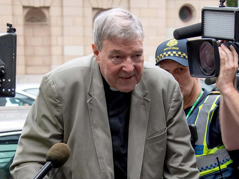 Cardinal George Pell arrives at the County Court in Melbourne in February 2019: AP