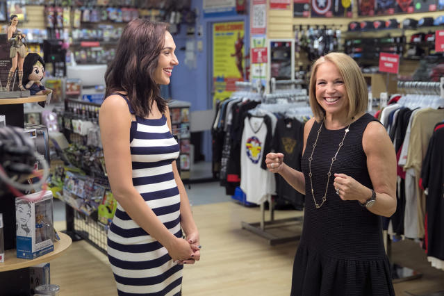 <p>Yahoo Global News Anchor Katie Couric and actress Gal Gadot enjoy a laugh during an interview at the Midtown Comics in New York City. (Gordon Donovan/Yahoo News) </p>