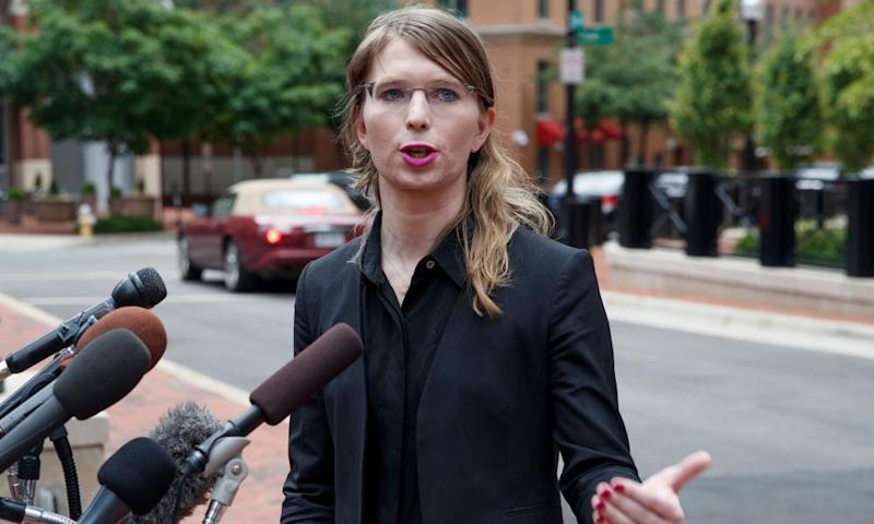 Chelsea Manning outside a courthouse Virginia last year.