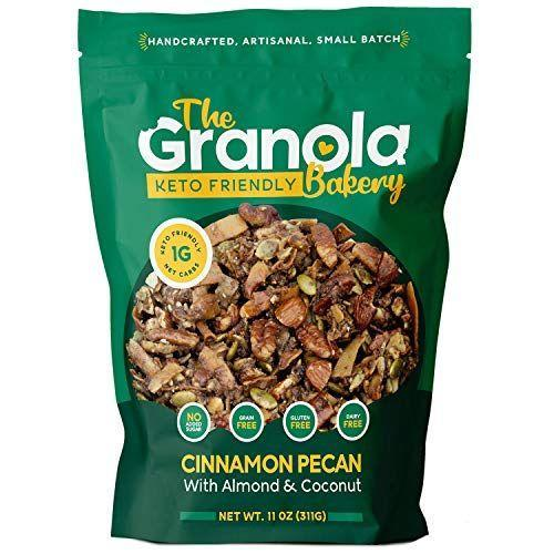 """<p><strong>The Granola Bakery</strong></p><p>amazon.com</p><p><a href=""""https://www.amazon.com/dp/B07TVRFCDZ?tag=syn-yahoo-20&ascsubtag=%5Bartid%7C10055.g.34163028%5Bsrc%7Cyahoo-us"""" rel=""""nofollow noopener"""" target=""""_blank"""" data-ylk=""""slk:Shop Now"""" class=""""link rapid-noclick-resp"""">Shop Now</a></p><p>This low-carb granola has an overall 4.6 out of 5 star rating on Amazon with over 4,000 reviews. <strong>Reviewers rave that it's the """"best keto granola"""" and give it high marks for taste. </strong>Although this pick has no added sugar, it does contain sugar alcohols which don't agree with everyone, so start with a small serving to see how you tolerate it.</p><p><strong>Nutrition Facts (1/3 cup): </strong>160 cal, 15g total fat, 6g sat fat, 0g trans fat, 0mg cholesterol, 90mg sodium, 8g total carbohydrate, 5g dietary fiber, 1g total sugar, 0g added sugar, 2g sugar alcohol, 4g protein</p>"""