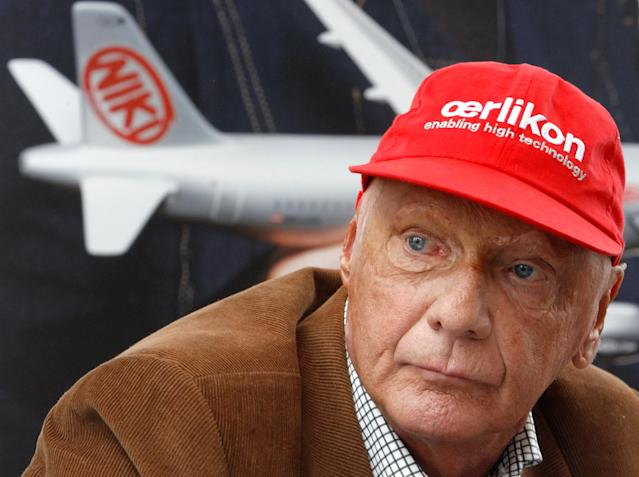 "FILE PHOTO: Austrian former Formula One racing champion Niki Lauda addresses the media during a news conference for his airline ""NIKI"" in Vienna, Austria September 14, 2009. REUTERS/Heinz-Peter Bader/File Photo"