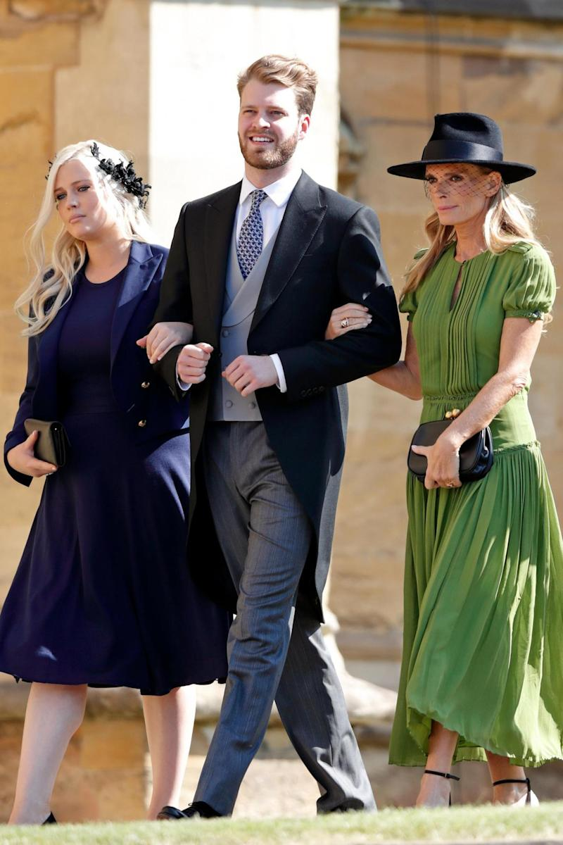 Louis Spencer with Lady Eliza Spencer and Victoria Lockwood arriving for the royal wedding of Prince Harry and Meghan Markle on May 19, 2018 in Windsor, England. (Getty Images)