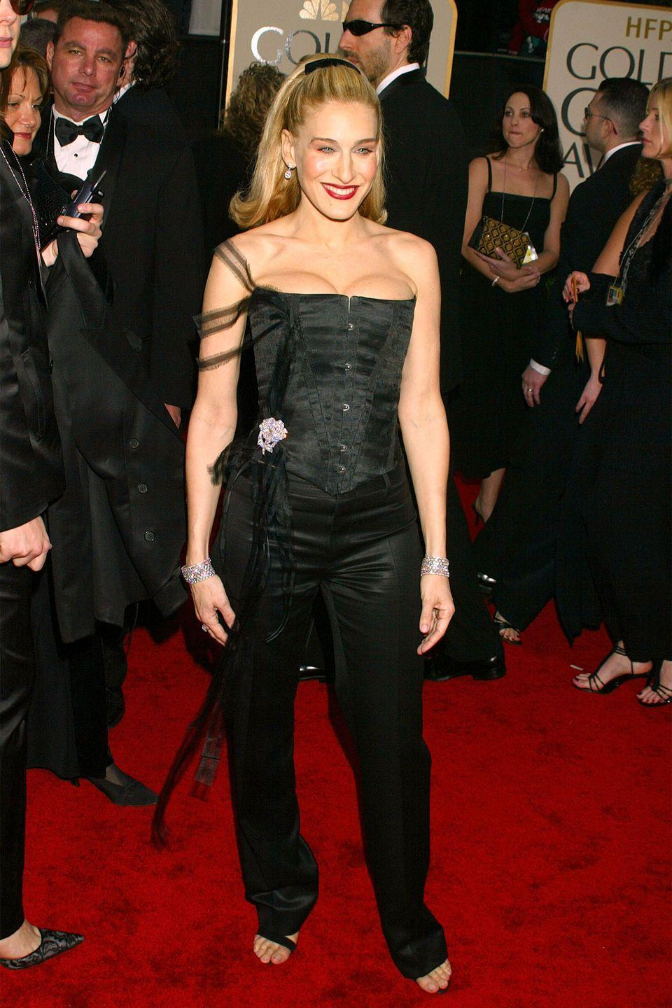 <p>The <em>Sex and the City </em>star gave us a Madonna-inspired look in a major corset in 2003.</p>
