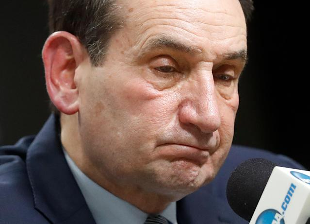 Duke head coach Mike Krzyzewski pauses while answering questions at a news conference after losing to Michigan State on Sunday. (AP)