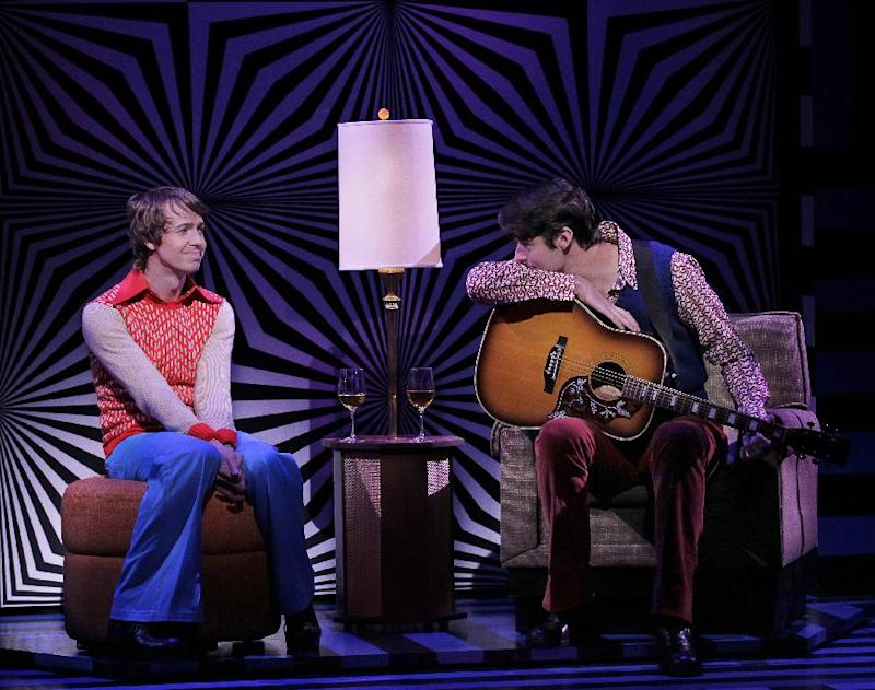 "In this theater image released by The Hartman Group, David Turner portrays David Gamble, left, and  and Drew Gehling portrays Warren Smith in the musical ""On a Clear Day You Can See Forever,""  in New York. (AP Photo/The Hartman Group, Paul Kolnik)"