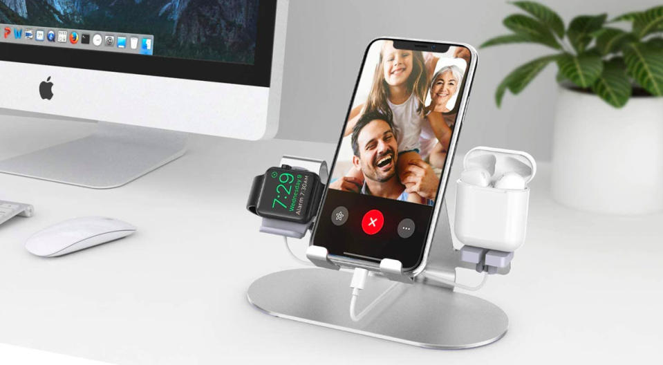A place for everything, and everything in its place. Give the gift of a neater workspace with this 3-in-1 charging station. (Photo: Amazon)