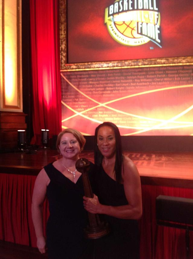Gamecocks communications liaison Diana Koval and head coach Dawn Staley (Courtesy of Koval)