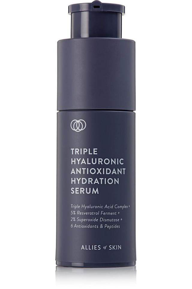"""<p><strong>Allies of Skin</strong></p><p>net-a-porter.com</p><p><strong>$75.00</strong></p><p><a rel=""""nofollow"""" href=""""https://www.net-a-porter.com/us/en/product/1141690"""">Shop Now</a></p><p>No skin care routine is complete without a good hydrating serum, and this hyaluronic formulation from Allies of Skin seriously ups the game with a blend of peptides, stem cells and antioxidants that help reduce inflammation and promote plump, hydrated skin that glows. </p>"""