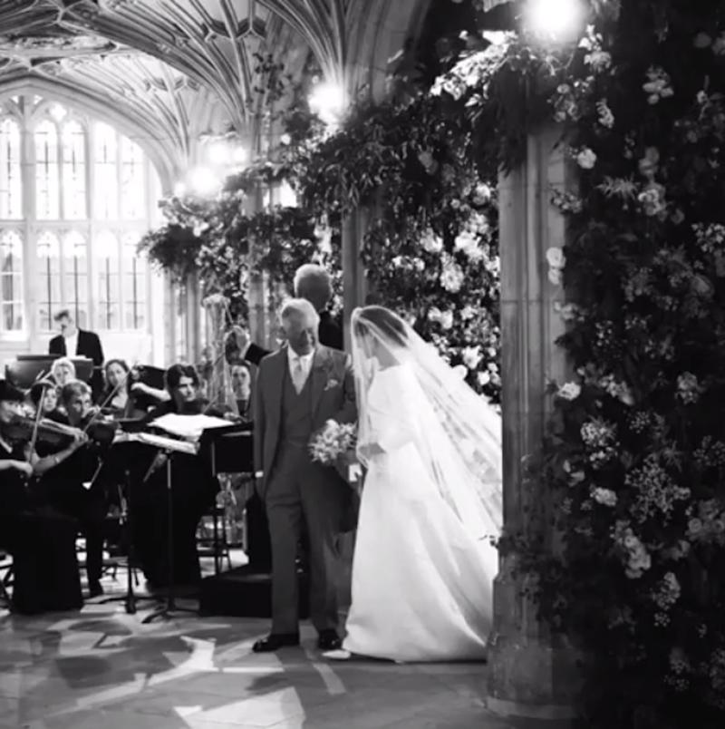 Meghan Markle with her father-in-law Prince Charles on the big day (@sussexroyal)