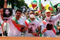 National Council of Resistance of Iran supporters protest against government in Teheran, in Berlin