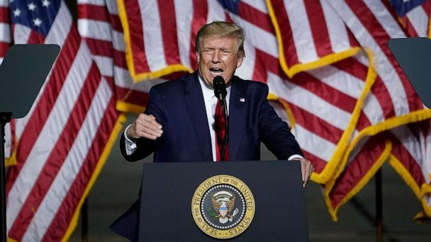 PHOTO: President Donald Trump speaks during a campaign rally at Newport News/Williamsburg International Airport on Sept. 25, 2020, in Newport News, Va. (Drew Angerer/Getty Images)