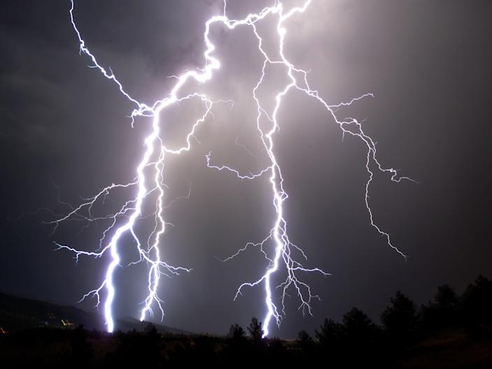 Lightning rips through the night sky above Boulder, Colorado, in this file photo. New world records for lightning length and duration have been confirmed, the World Meteorological Organization said on June 25, 2020.