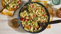 """<p>Recipe: <a href=""""https://www.southernliving.com/recipes/summer-orzo-salad"""" rel=""""nofollow noopener"""" target=""""_blank"""" data-ylk=""""slk:Summer Orzo Salad"""" class=""""link rapid-noclick-resp"""">Summer Orzo Salad</a></p> <p>This is the kind of salad you can make in a big batch and then enjoy leftovers all week.</p>"""
