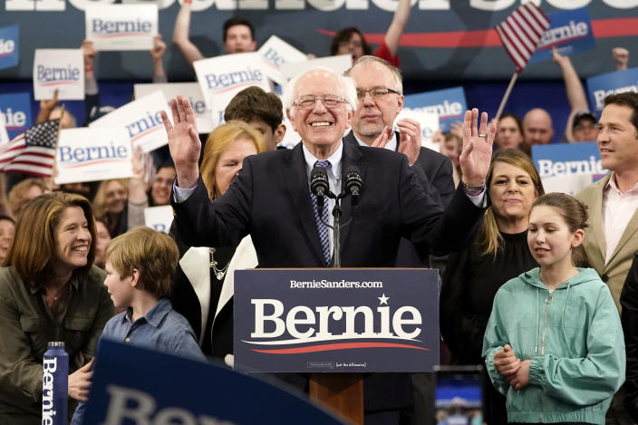 Sen. Bernie Sanders (I-VT) speaks during a primary night event on February 11, 2020 in Manchester, New Hampshire. (Drew Angerer/Getty Images)