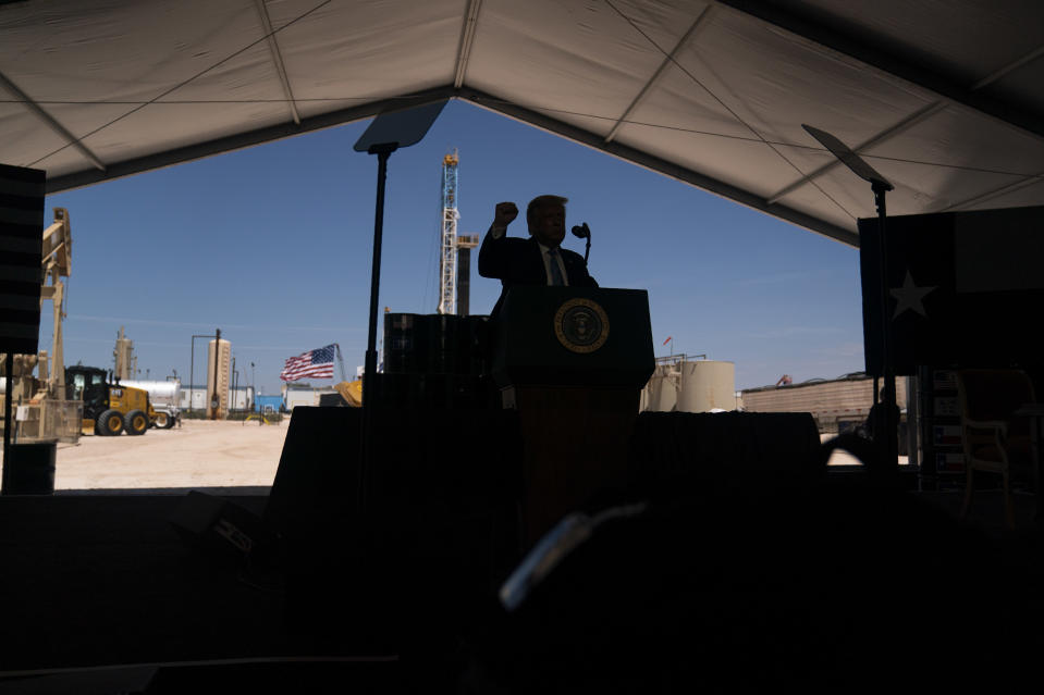 President Donald Trump delivers remarks about American energy production during a visit to the Double Eagle Energy Oil Rig, Wednesday, July 29, 2020, in Midland, Texas. (AP Photo/Evan Vucci)