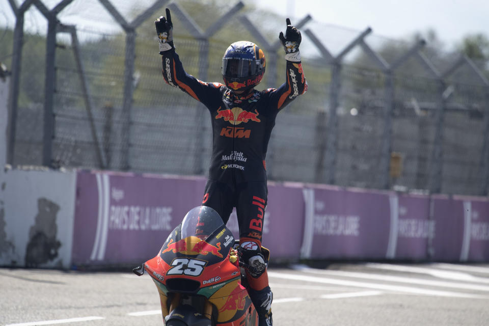 LE MANS, FRANCE - MAY 16: Raul Fernandez of Spain and Red Bull KTM Ajo  celebrates the victory  during the Moto2 race during the MotoGP of France - Race at  on May 16, 2021 in Le Mans, France. (Photo by Mirco Lazzari gp/Getty Images)