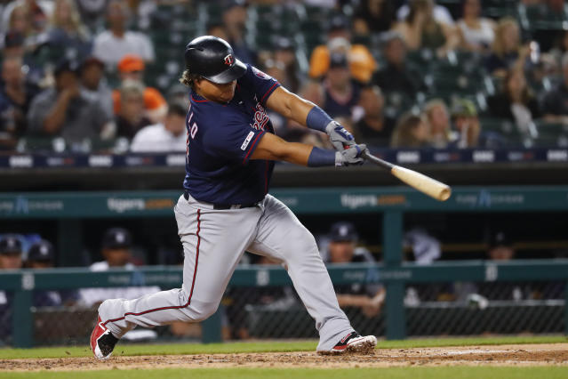 Minnesota Twins' Willians Astudillo hits a two-run single against the Detroit Tigers in the seventh inning of a baseball game in Detroit, Tuesday, Sept. 24, 2019. (AP Photo/Paul Sancya)