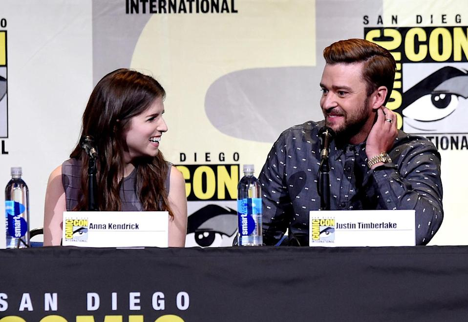 <p>Voice stars Anna Kendrick and Justin Timberlake at the DreamWorks panel on July 21. <i>(Photo: Kevin Winter/Getty Images)</i></p>