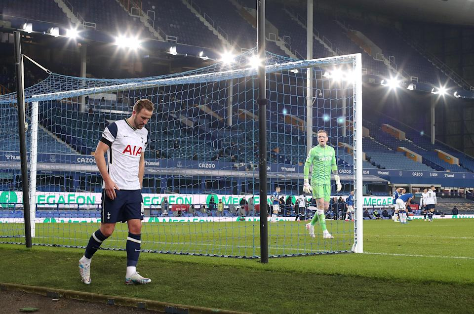 Harry Kane limps away at the end of the match (Reuters)