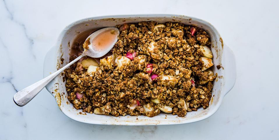"""This simple process works for practically any fruit; gauge how much sugar to use based on the fruit's sweetness, and try cardamom or ginger in place of cinnamon. <a href=""""https://www.bonappetit.com/recipe/apple-rhubarb-crumble?mbid=synd_yahoo_rss"""" rel=""""nofollow noopener"""" target=""""_blank"""" data-ylk=""""slk:See recipe."""" class=""""link rapid-noclick-resp"""">See recipe.</a>"""