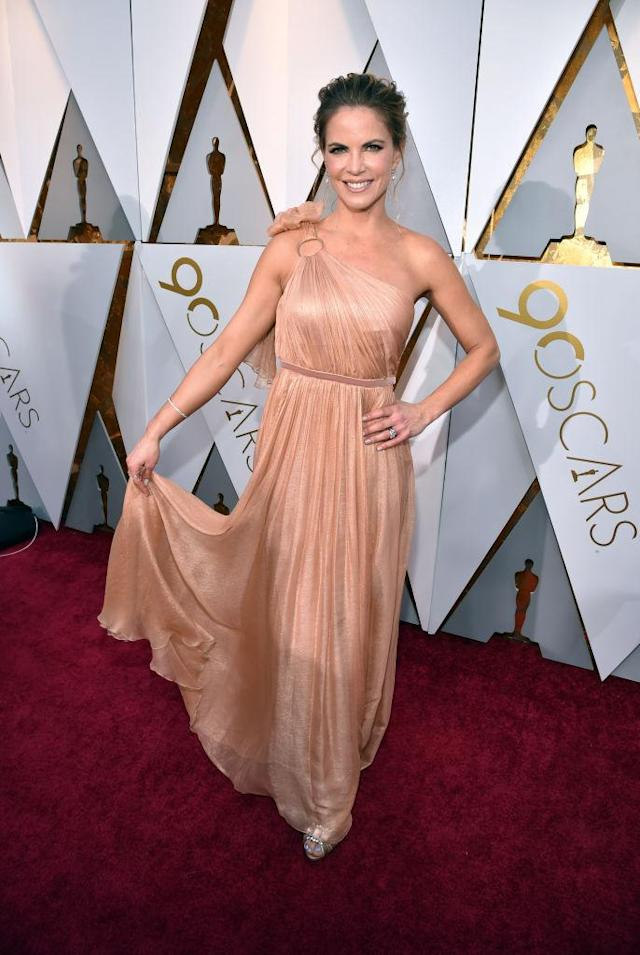 <p>Natalie Morales attends the 90th Academy Awards in Hollywood, Calif., March 4, 2018. (Photo: Getty Images) </p>