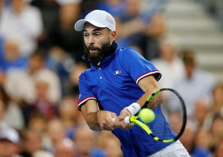 Tennis - Davis Cup - World Group Semi-Final - France v Spain - Stade Pierre Mauroy, Lille, France - September 14, 2018 France's Benoit Paire in action during his match against Spain's Pablo Carreno Busta REUTERS/Pascal Rossignol