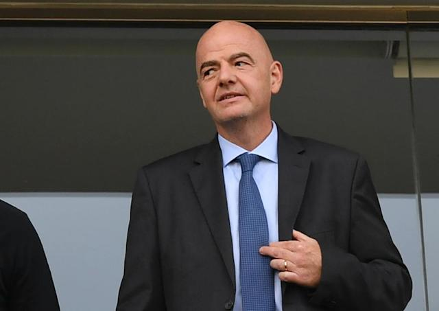FIFA's President Gianni Infantino says that football can be part of a US-led economic plan for the Middle East (AFP Photo/Nelson Almeida)