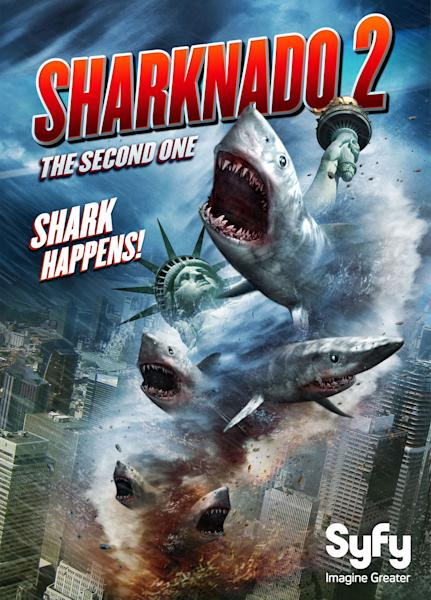 """This photo released by NBCUniversal shows the key art for """"Sharknado 2: The Second One."""" The new movie will take a bite out of New York City on July 30, 2014, in Syfy's sequel to the campy classic that aired last summer. (AP Photo/NBCUniversal)"""