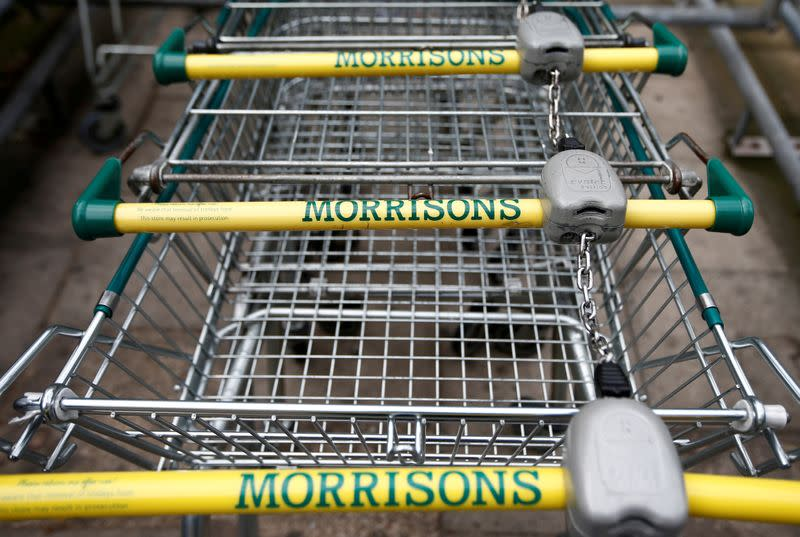FILE PHOTO: Shopping trolleys at a Morrisons supermarket in south London