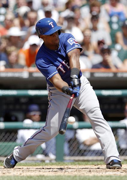 Texas Rangers' Adrian Beltre hits a grounder to Detroit Tigers shortstop Jhonny Peralta for an out in the fifth inning of a baseball game Sunday, July 14, 2013, in Detroit. (AP Photo/Duane Burleson)