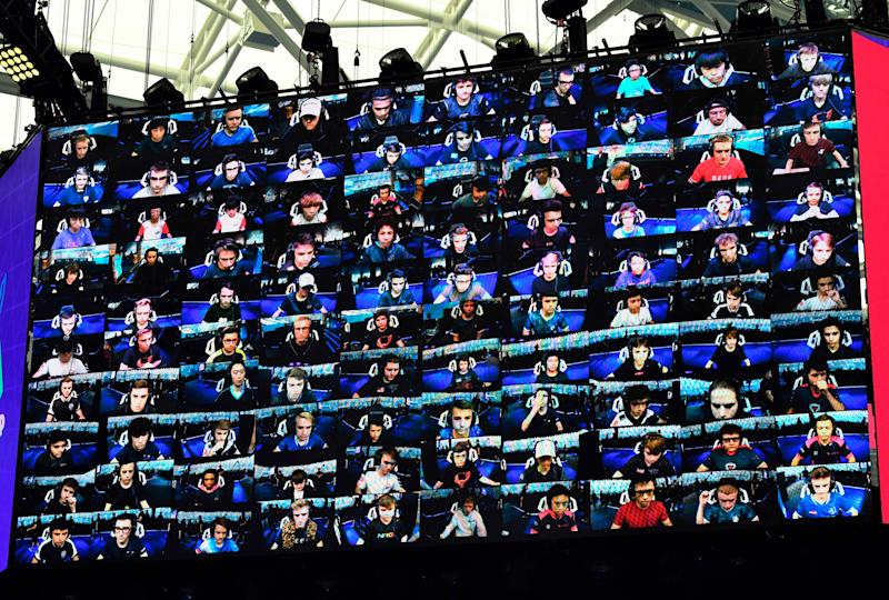 The 100 players are seen on a TV screen during the final of the Solo competition at the 2019 Fortnite World Cup July 28, 2019 inside of Arthur Ashe Stadium, in New York City.
