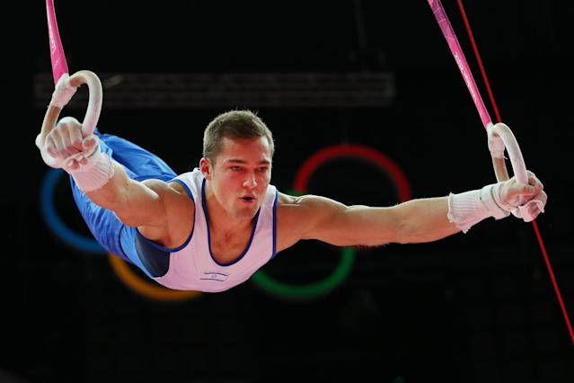 LONDON, ENGLAND - AUGUST 01: Alexander Shatilov of Israel competes on the rings in the Artistic Gymnastics Men's Individual All-Around final on Day 5 of the London 2012 Olympic Games at North Greenwich Arena on August 1, 2012 in London, England. (Photo by Ronald Martinez/Getty Images)