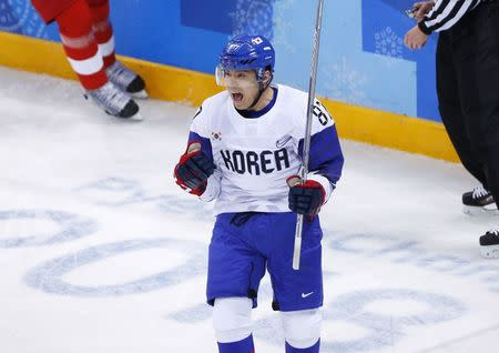 Ice Hockey – Pyeongchang 2018 Winter Olympics – Men Preliminary Round Match – Czech Republic v South Korea - Gangneung Hockey Centre, Gangneung, South Korea – February 15, 2018 - Cho Min-ho of South Korea celebrates after scoring a first period goal. REUTERS/Brian Snyder