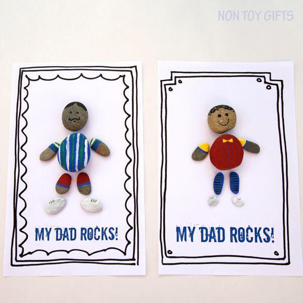 """<p>Kids will have a blast putting together their own Dad rocks, which they can decorate however they like. </p><p><strong><em>Get the tutorial at <a href=""""https://nontoygifts.com/dad-rocks-fathers-day-gift-to-make-with-kids/"""" rel=""""nofollow noopener"""" target=""""_blank"""" data-ylk=""""slk:Non-Toy Gifts"""" class=""""link rapid-noclick-resp"""">Non-Toy Gifts</a>. </em></strong> </p><p><a class=""""link rapid-noclick-resp"""" href=""""https://www.amazon.com/Natural-Polished-Stones-approximately-average/dp/B00HV1VF64?tag=syn-yahoo-20&ascsubtag=%5Bartid%7C10070.g.2461%5Bsrc%7Cyahoo-us"""" rel=""""nofollow noopener"""" target=""""_blank"""" data-ylk=""""slk:SHOP MIXED STONES"""">SHOP MIXED STONES</a></p>"""