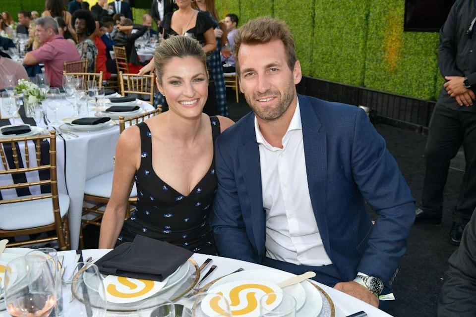 "<p>Erin Andrews may be a sideline NFL reporter, but she turned to the NHL to find her future hubby. NFL Hall of Famer Michael Strahan set Erin up with Stanley Cup champion Jarret Stoll in 2012. Erin and Jarret <a href=""https://www.harpersbazaar.com/wedding/photos/a12019646/erin-andrews-jarret-stoll-wedding/"" rel=""nofollow noopener"" target=""_blank"" data-ylk=""slk:tied the knot in 2017"" class=""link rapid-noclick-resp"">tied the knot in 2017</a>.</p>"