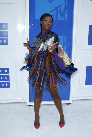 Singer Justine Skye arrives at the 2016 MTV Video Music Awards in New York