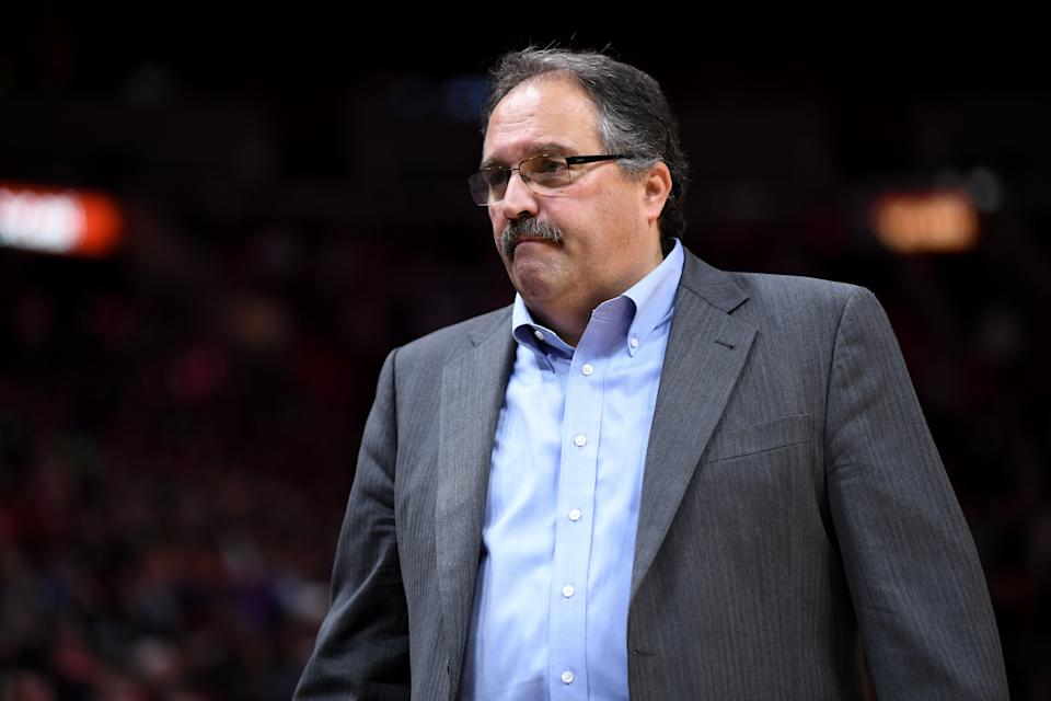 MIAMI, FL - JANUARY 03: Stan Van Gundy of the Detroit Pistons looks on during the first half of the game against the Miami Heat at American Airlines Arena on January 3, 2018 in Miami, Florida. NOTE TO USER: User expressly acknowledges and agrees that, by downloading and or using this photograph, User is consenting to the terms and conditions of the Getty Images License Agreement. (Photo by Rob Foldy/Getty Images)