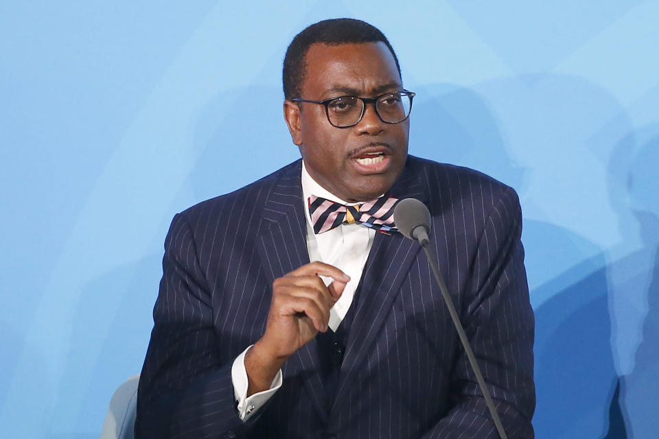 FILE - In this Sept. 23, 2019 file photo, African Development Bank President Akinwumi Adesina, the winner of the 2017 World Food Prize, speaks at U.N. headquarters. A group of 24 scientists, economists, researchers and other past winners of the World Food Prize, including Adesina, sent a letter Tuesday, Feb. 23, 2021, to President Joe Biden asking him to focus on alleviating global hunger, poverty and malnutrition. The World Food Prize Foundation released the letter that describes United States involvement in battling global hunger as foundational. (AP Photo/Jason DeCrow, File)