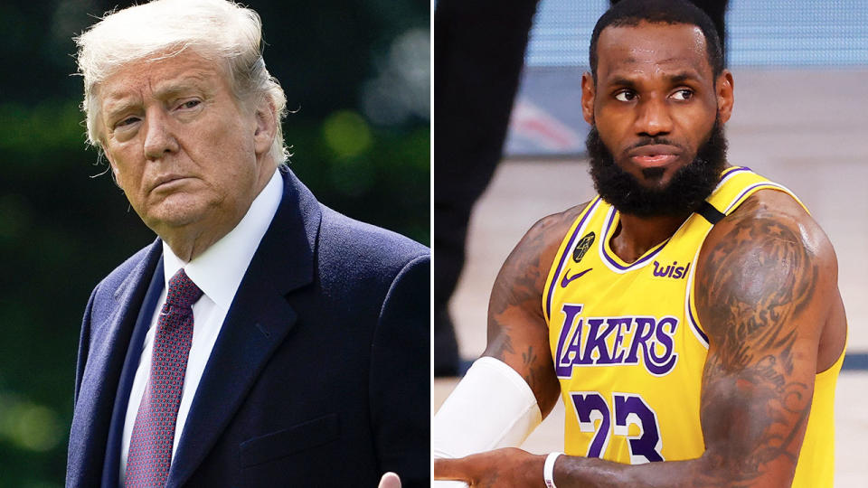 Donald Trump and LeBron James, pictured here before Game 5 of the NBA Finals.