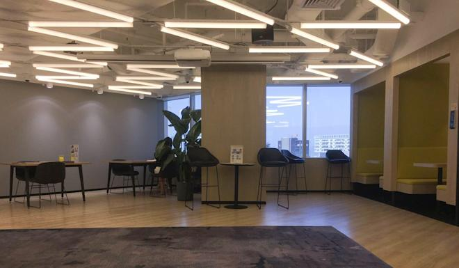 Kr Space's co-working office in Times Square was empty on Friday. Photo: Snow Xia