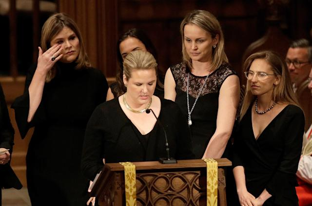 <p>Jenna Bush, left, wipes away tears as granddaughters gather to speak during a funeral service for former first lady Barbara Bush at St. Martin's Episcopal Church, April 21, 2018 in Houston, Texas. (Photo: David J. Phillip-Pool/Getty Images) </p>