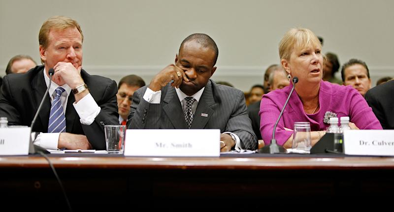 Tampa Bay Buccaneers former President Gay Culverhouse, right, testifies before the House Judiciary Committee about football brain injuries along with NFL Commissioner Roger Goodell, left, and NFLPA Executive Director DeMaurice Smith on Capitol Hill October 28, 2009 in Washington, DC.
