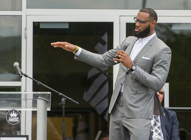 The first set of students in LeBron James' school are doing better than expected, but it shows how far there is to go still. (AP Photo/Phil Long)