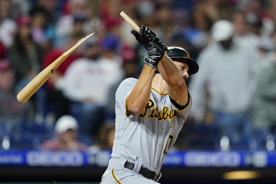 Pittsburgh Pirates' Bryan Reynolds breaks his bat on a ground out during the fifth inning of a baseball game against the Philadelphia Phillies, Friday, Sept. 24, 2021, in Philadelphia. (AP Photo/Matt Slocum)