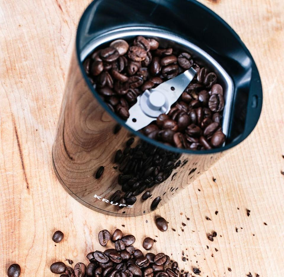 """Making your go-to morning beverage just got much easier.<br /><br /><strong>Promising review:</strong>""""Been using this for my morning French press beans, and it is so straightforward and easy to use to one's needs. I haven't done any super deep cleaning of it yet but the design makes me think that'll be easy — all the surfaces inside are easy to access and clean out as needed."""" —<a href=""""https://go.skimresources.com?id=38395X987171&xs=1&url=https%3A%2F%2Fwww.surlatable.com%2Ffast-touch-grinder-black%2F1444132.html&xcust=HPWantedKitchenGadgets6087326be4b09a22a4461b8c"""" target=""""_blank"""" rel=""""noopener noreferrer"""">Erin B.</a><br /><br /><strong>Get it from Sur la Table for <a href=""""https://go.skimresources.com?id=38395X987171&xs=1&url=https%3A%2F%2Fwww.surlatable.com%2Ffast-touch-grinder-black%2F1444132.html&xcust=HPWantedKitchenGadgets6087326be4b09a22a4461b8c"""" target=""""_blank"""" rel=""""noopener noreferrer"""">$19.95</a>.</strong>"""